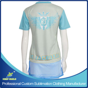 Custom Made Sublimation Girl′s Lacrosse Sports Suit with Jersey and Boarder Skirt pictures & photos