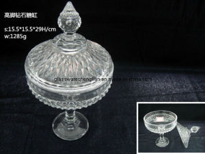 Crystal Machine-Made Glass Candy Jar with Diamond Design (J-HG07) pictures & photos