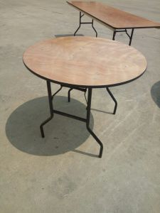 54′′ Round Wood Folding Table, Plywood Foldable Banquet Table pictures & photos