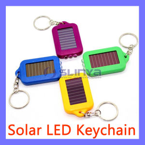 Key Ring Metal Chain Hook 3 LED Emergency Clip Solar Flashlight Light pictures & photos
