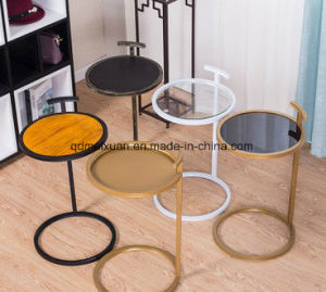 Simple Little Side a Few, Wrought Iron Round Angle of Solid Wood Living Room Table Glass Tea Table of Sofa Side (M-X3791) pictures & photos