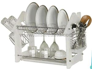 "Two Layer 16"" Steel Kitchen Dish Rack Drainer with Plastic Side Board No. Dr16-Hbp pictures & photos"