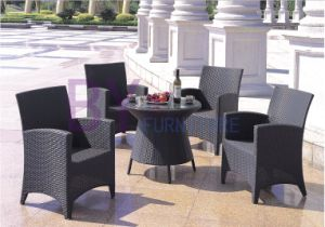 5 PCS Black PE Rattan Furniture with Small Round Table pictures & photos