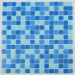 Small Size Thickness 4mm Square Deep Blue Glass Mosaic for Pool Design pictures & photos