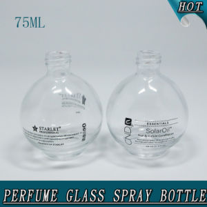 Refillable Perfume 75ml Round Clear Cosmetic Glass Spray Bottle pictures & photos