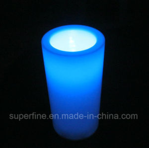 Corridor Plastic Weeding Artificial Customized Pillar Blue Lighting LED Candle with Battery Electronic pictures & photos