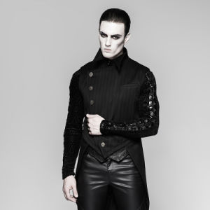 Y-763 Punk Rave Gentleman Stripe Suit Style Buckle Swallow-Tail Vest pictures & photos