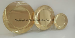 Plastic Plate, Disposable, Tableware, Tray, Dish, PS, SGS, Golden, PB-01