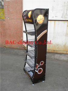 High Quality Black Paiting Metal Shelves Food Display Rack pictures & photos