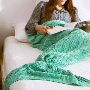China Softtextile Knitted Fleece Mermaid Tail Blanket with 195X95cm pictures & photos