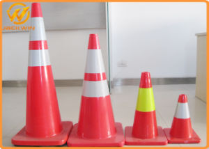 "Low Price 28"" Solid Orange Reflective Flexible PVC Traffic Cone pictures & photos"