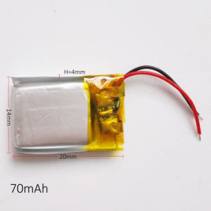 3.7V 70mAh 401420 Lithium Polymer Lipo Rechargeable Battery for MP3 MP4 Pad DVD DIY E-book Bluetooth Headphone pictures & photos
