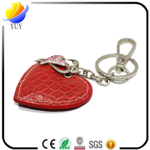 Cute Heart Shape and Diamante Leather Metal Key Chain pictures & photos