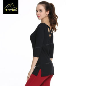 Women Long Shirt Backless Sexy Shirts for Yoga Wear pictures & photos