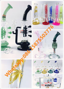 2017 Newest Dabbing Pipe Hbking Glass Water Pipe Dual Perc Recycler Straight Thick Smoking Pipe Colorful Mini Size Water Pipe pictures & photos