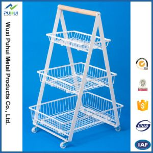 4 Layer Wire Sliding Basket Holder with Wood Board Top pictures & photos