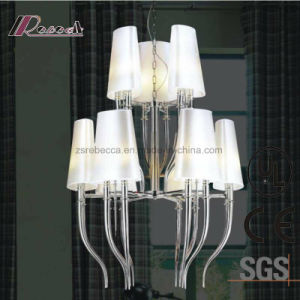 European Decorative Chrome Pendant Lamp with Fabric Shade for Hotel pictures & photos