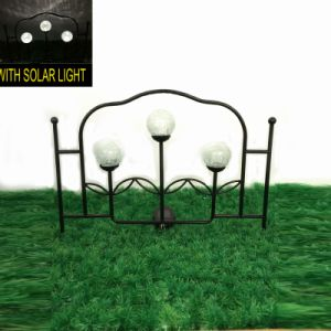 Double Glass Ball Solar Lighted Metal Garden Fence pictures & photos