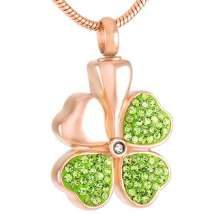 316L Stainless Steel Women Necklace Hot Sale Four Leaf Clover Cremation Urn Necklace Ashes Memorial Pendant for Pet pictures & photos
