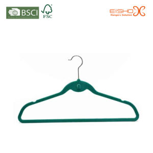 Green Color Fashion Velvet Hanger with Cascading Hooks pictures & photos