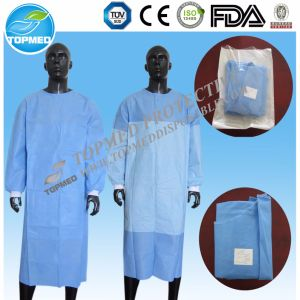 Elastic Cuffs/Knitted Cuff Eo-Sterilized Isolation Gown/Surgical Gown Free Size pictures & photos