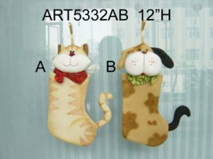 Cat and Dog Christmas Stocking Home Decoration, 2 Asst pictures & photos