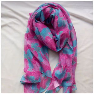 Polyester Cotton Voile Scarf Leaf Design Long Scarf