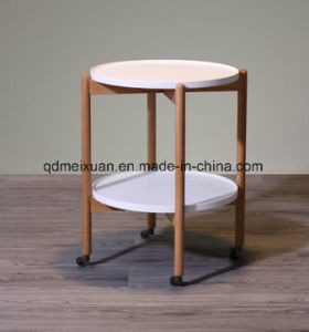 Mobile Double Round Tea Table Contemporary and Contracted Small Family Furniture Sofa a Few Creative Side of Roller Table (M-X3764) pictures & photos