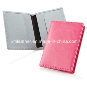 Leather Travel ID Card Holder Name Card Wallet with Embossed Logo pictures & photos