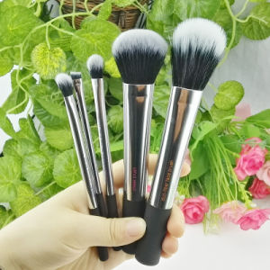 5PCS Metal Siliver Face Eyeshadow Cheek Makeup Brush Set Wholesale