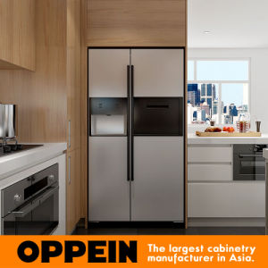 Modern White Matte Lacquer and Wood Grain Melamine Kitchen Cabinet (OP16-L23) pictures & photos