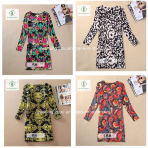 2017 European Printed Long Sleeved Classical Fashion Women Dress pictures & photos