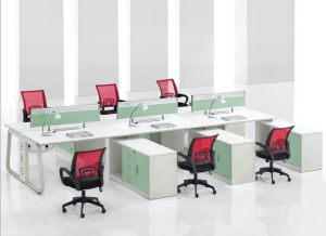 6 Seats Straight Desk Workstation Cluster Staff Office Partition (HX-NCD303) pictures & photos