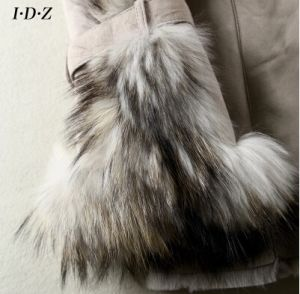 Lady′s Genuine Leather and Fur Jacket with Fox Fur pictures & photos