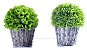 Different Artificial Plants in The Rattan Basket for Indoor/Outdoor Decoration