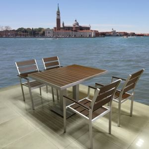 Modern Wooden Patio Balcony Gary Polywood Aluminum Leisure Cafe Bistro Chair Table Set Garden Outdoor Patio Dining Furniture pictures & photos