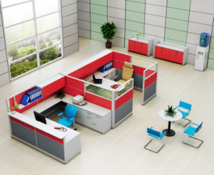 Red 2 Seater Office Workstation Cubicle with Upside Cabinet (HF-YZQ738) pictures & photos