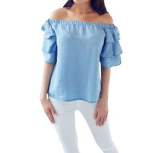 Women Blouse off Shoulder Shirt Tops Sexy Fold Flare Sleeve Blusas Femininas Cloth pictures & photos