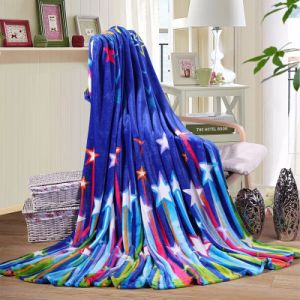 Walmart Star Printing Disposable Mink Flannel Fleece Blanket on Airline pictures & photos