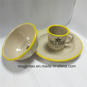 Enamelware Table Tea Cup Plate Set Enamel Saucer Camping Cup Tin Iron Bowl pictures & photos