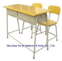 Hot Selling Wooden Double Student Desk and Chair