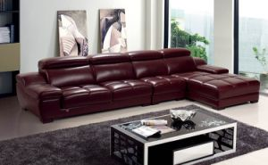 Modern Sectional Black Leather Sofa Contemporary Couch pictures & photos