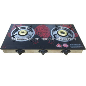 2 Burners Tempered Glass Top Stainless Steel Indian Burner Gas Cooker/Gas Stove pictures & photos