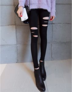 Black Sexy Slim Capris Leggings with Hollows for Women Stretch Skinny Trousers P1262 pictures & photos