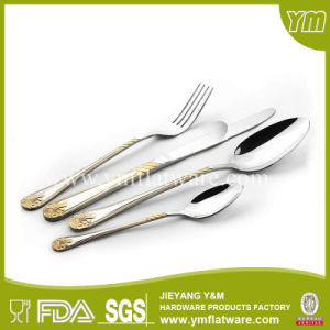 Used Restaurant Flatware Gold Plated Stainless Steel Bulk Cutlery pictures & photos