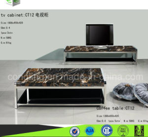 Gloss Marble TV Cabinet with Stainless Steel CT12