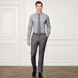 Tailor Made Grey Color Men′s Slim Fit Business Non-Iron Shirt pictures & photos