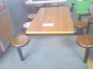 Metal Steel Frame HPL Laminated Top Cheap Restaurant Canteen Table with Chair 4 Seats pictures & photos