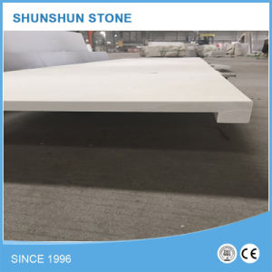 Pure White Quartz Prefabricated Countertop Slab with Square Edge pictures & photos