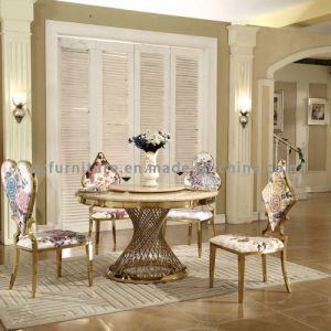 Latest Design Modern Marble Top Gold Stainless Steel Legs Wedding Table pictures & photos